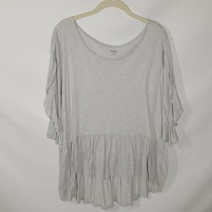 A.n.a Gray Flowy Top With Split Short Sleeves XXL